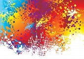 Rainbow background with ink splat effect with white paint