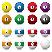 stock photo of pool ball  - Collection of pool balls numbered from one to fifteen with shadow - JPG