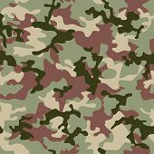 illustrated Green camouflage seamless background in forest colors