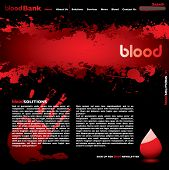 Abstract blood web page concept wit splat design and hand print