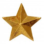 Golden star, clipping path included.