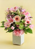 stock photo of flower arrangement  - Flower arrangement in pink - JPG
