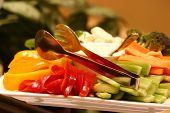 stock photo of crudites  - fresh vegetables served with a peppercorn dressing - JPG