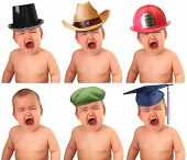 foto of baby cowboy  - Six crying babies wearing different hat - JPG