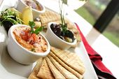 image of cheese platter  - sumptious platter of flat breads served with red pepper hummus dip - JPG