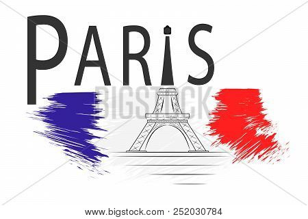 poster of Paris Eiffel Tower. Inscription Paris With The Silhouette Of The Eiffel Tower And Suggestion Of The