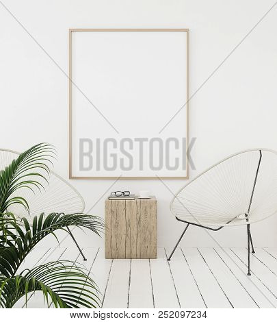 poster of Mock-up Poster Frame On Wall With Minimal Decor, Scandinavian Style, 3d Illustration