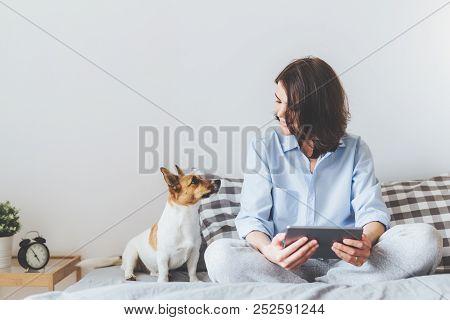Beautiful Brunette Female In Pyjamas