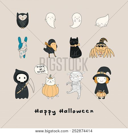 Set Of Kawaii Funny Halloween Characters With Ghosts Cats