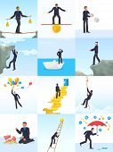 Businessman Risk Vector Man In Risky Or Dangerous Business Start Up Challenge Illustration Set Of Fi poster