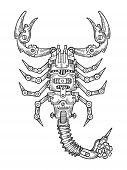 Mechanical Scorpio Animal Engraving Vector Illustration. Scratch Board Style Imitation. Black And Wh poster