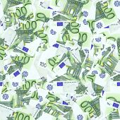 Euro banknotes cutting. Seamless wallpaper