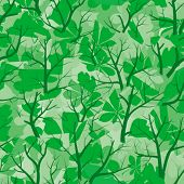 Seamless vector wallpaper. Summer forest. All colors easy for change