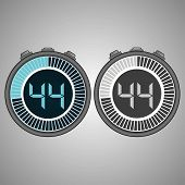 Постер, плакат: Electronic Digital Stopwatch Timer 44 Seconds Isolated On Gray Background Stopwatch Icon Set Time