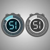 Постер, плакат: Electronic Digital Stopwatch Timer 51 Seconds Isolated On Gray Background Stopwatch Icon Set Time