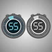 Постер, плакат: Electronic Digital Stopwatch Timer 55 Seconds Isolated On Gray Background Stopwatch Icon Set Time