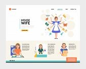 Flat Housewife Landing Page Concept With Super Mom Ironing Cleaning Shopping Washing Household Affai poster