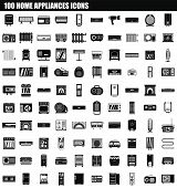 100 Home Appliances Icon Set. Simple Set Of 100 Home Appliances Vector Icons For Web Design Isolated poster