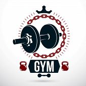 Vector Sport Equipment, Dumbbell With Disc Weight And Kettle Bell. Sport Emblem For Weightlifting Gy poster