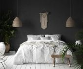 Bedroom Interior With Black Wall,boho Style Decor And White Bed, 3d Illustration poster