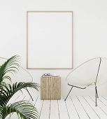 Mock-up Poster Frame On Wall With Minimal Decor, Scandinavian Style, 3d Illustration poster