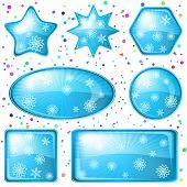 Los copos de nieve botones de Navidad, establecer
