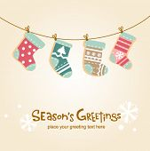 Christmas stockings, cute greeting card