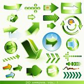 vector icon set: 3d arrows (green)