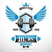 Vector Winged Graphic Symbol Created With Disc Weight Dumb-bell And Royal Crown. Weight-lifting Exer poster
