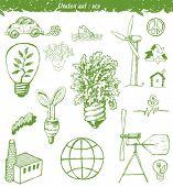 Set ecological doodles symbols