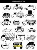 Doodle vector set: coche