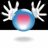 Liebe zukünftige Crystal Ball in Händen
