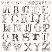 hand drawn vintage alphabet