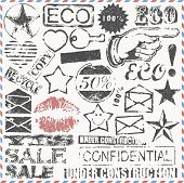 Vector Set: original Vintage Briefmarken