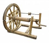 Old Wooden Spinning-wheel Distaff Isolated
