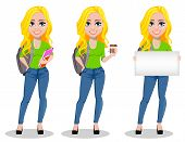Happy Student With Backpack, Set Of Three Poses. Beautiful Female Cartoon Character Holding Book, Ho poster