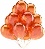 Balloons birthday party fiery orange translucent