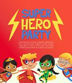 Joyous Multiracial Kids In Super Hero Outfit And Balloons Happily Jump. Vector Illustration Of A Sup poster