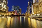 Colorful Architecture Of Chicago Along Chicago River At Night. Chicago, Illinois, Usa. poster