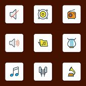 Audio Icons Colored Line Set With Speaker, Radio, Off And Other Mute Elements. Isolated Vector Illus poster