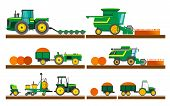 Agricultural Machinery. Set Of Agricultural Machinery. Set Of Agricultural Equipment On White Backgr poster