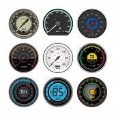 Speedometer Vector Car Speed Dashboard Panel And Speed-up Power Measurement Illustration Set Of Spee poster