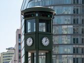 The Clock At Famous Potsdamer Platz In Berlin, Germany, Selected Focus poster