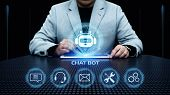 Chat Bot Robot Online Chatting Communication Business Internet Technology Concept. poster