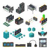 Mining Farm Process Vector Set. Symbols And Icons Of Mining Farm Equipment. Blockchain Technologies  poster