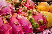 Dragon Fruit.dragon Fruit Is A Fruit Of The Cactus Plant That Grows In The Tropical And Subtropical  poster