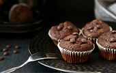 Mini Chocolate Chip Muffins. Easy Basic Muffin Homemade. poster