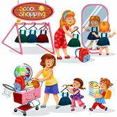 Mothers And Children Preparing For New Academic Year Trying On And Buying Beautiful Uniform And Many poster
