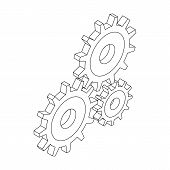 Three Cogwheels Icon In Isometric 3d Style Isolated On White Background poster
