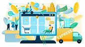 Online Shopping Vector Concept In Flat Design With People Making Purchases In Online Shop, Offering  poster